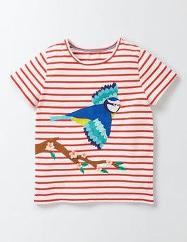 Ivory/Raspberry Whip Stripe Flutter Away T-shirt