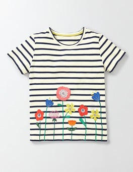 Ivory/Navy Stripe Flowers Flutter Away T-shirt