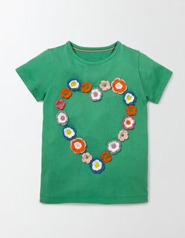 Wasabi Green Heart Floral Crochet T-shirt
