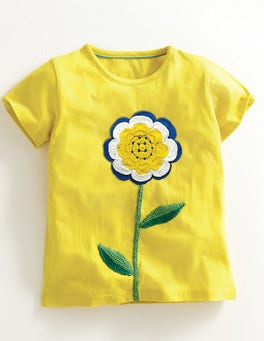 Mimosa Yellow Flower Floral Crochet T-Shirt