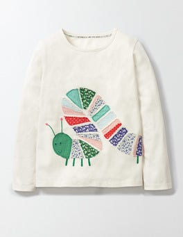 Mini Ecru Caterpillar Wildlife Patchwork T-shirt