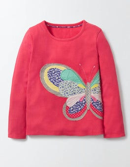 Raspberry Whip Butterfly Wildlife Patchwork T-shirt