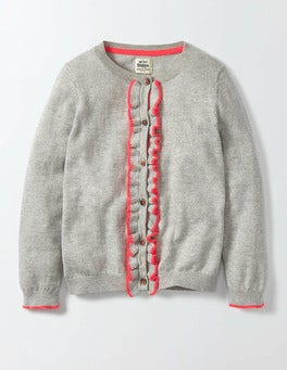 Silver Marl Knit Frilly Cardigan
