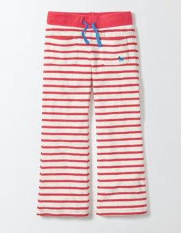 Ivory/Raspberry Whip Stripe Towelling Sweatpants