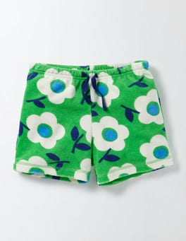 Summer Green Surf Floral Adventure Towelling Shorts
