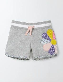 Grey Marl Flower Appliqué Jersey Shorts