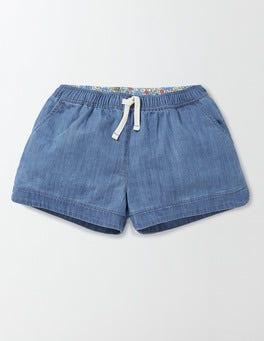 Light Chambray Heart Pocket Pull-on Shorts