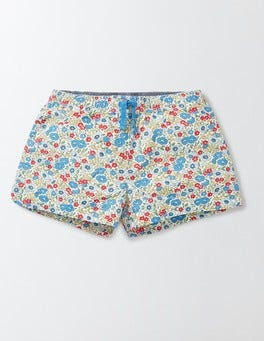Bright Bluebell Flower Bed Heart Pocket Pull-on Shorts