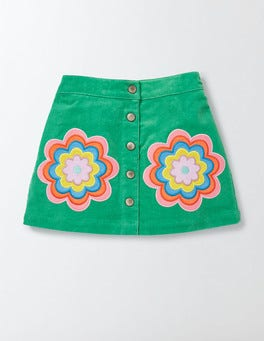 Wasabi Green Flower Fun Appliqué Skirt
