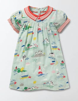 Azure Mist Coastal Town Pretty Collar Dress