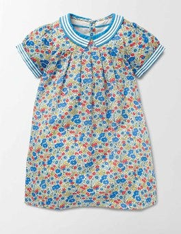 Bright Bluebell Flower Bed Pretty Collar Dress