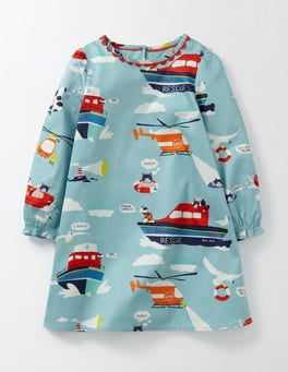 Mineral Blue Air-Sea Rescue Woven Printed Smock Dress