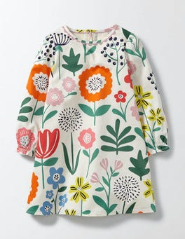 Multi Wallpaper Floral Woven Printed Smock Dress