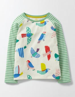 Multi Painted Bird Hotchpotch Printed T-Shirt