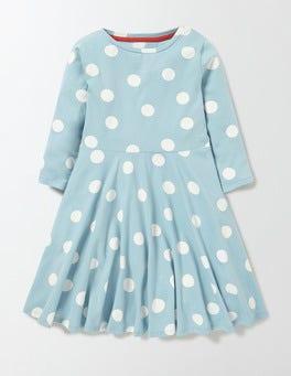 Mineral Blue Confetti Spot Jersey Ballerina Dress
