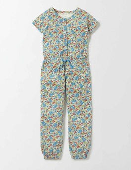 Bright Bluebell Flower Bed Jersey Jumpsuit