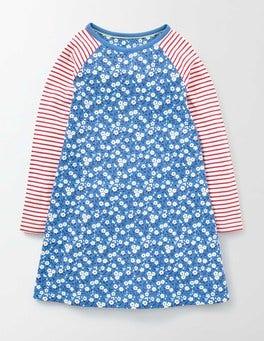Bright Bluebell Spring Daisy Jersey Swing Dress