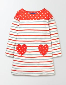 Mineral Blue/Rosehip Stripe Heart Pocket Jersey Dress