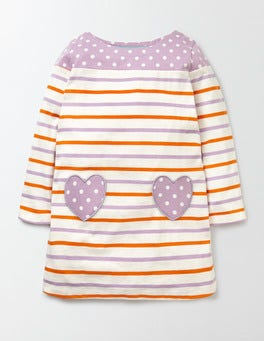 Tangerine/Delphinium Stripe Heart Pocket Jersey Dress