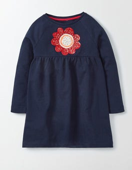 Navy Flower Applique Jersey Dress