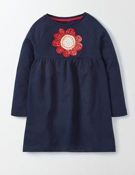 Navy Flower Applique Jersey Dress