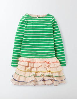 Wasabi/Pink Icing Stripy Ruffle Dress