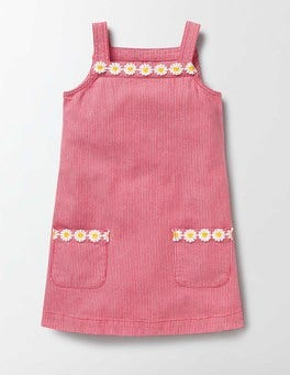 Raspberry/Whip Stripe Dungaree Dress