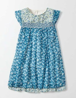 Bright Bluebell Spring Daisy Crinkle Hotchpotch Dress