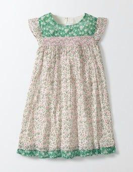 Chalky Pink Spring Daisy Crinkle Hotchpotch Dress