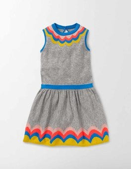 Grey Marl Knit Colourful Knitted Dress