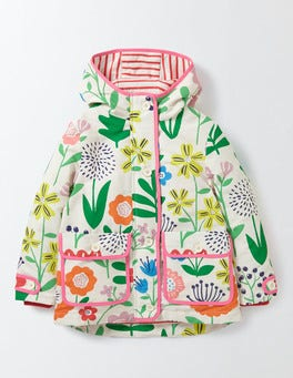 Multi Wallpaper Floral Jersey Lined Anorak