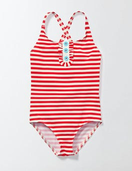 Raspberry Whip/Ivory Stripe Pretty Patterned Swimsuit