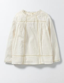 Mini Ecru Lace Trim Top