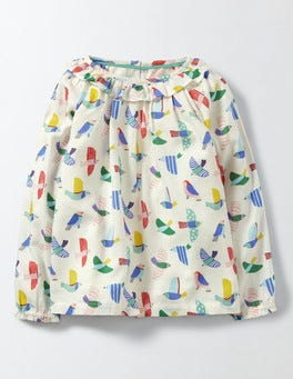 Multi Mini Painted Birds Pretty Printed Woven Top