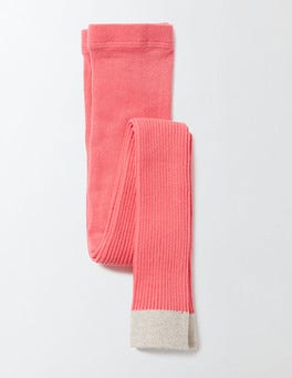 Pink Fizz Ribbed Footless Tights