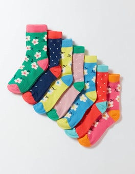 Pin Spot/Floral Pack 7 Pack Sock Box