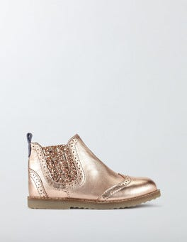 Rose Gold Leather Chelsea Boots