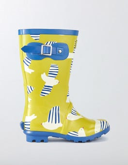 Cantaloupe Stripy Birds Printed Wellies