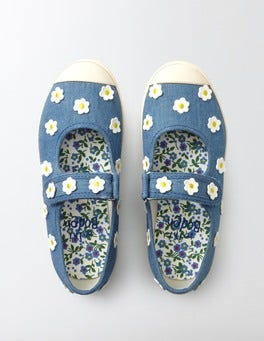 Chambray Canvas Mary Janes
