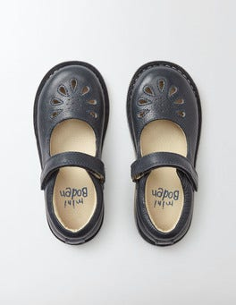 Navy Leather Mary Janes