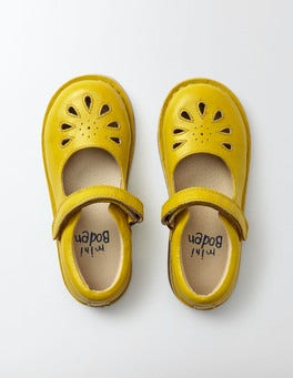 Mimosa Yellow Leather Mary Janes