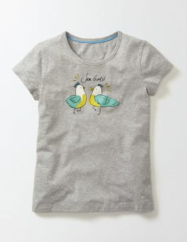 Grey Marl Birds Juliette T-Shirt