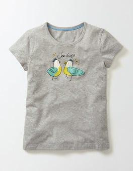 Grey Marl Birds Juliette T-Shirt