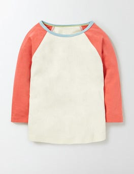 Mini Ecru/Raspberry Whip Raglan T-Shirt