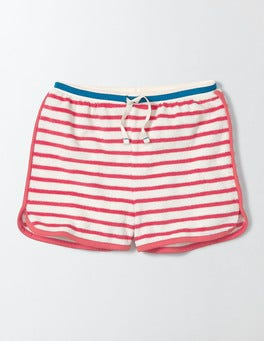 Ivory/Sunset Red Stripe Towelling Shorts