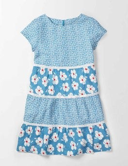 Bright Bluebell Poppy Ditsy Audrey Dress