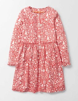 Raspberry Whip Nautical Toile Beatrice Dress