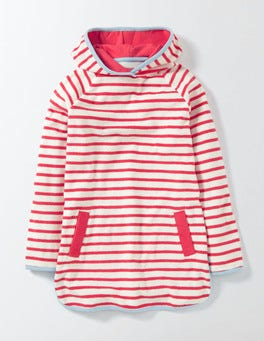 Ivory/Sunset Red Stripe Towelling Dress