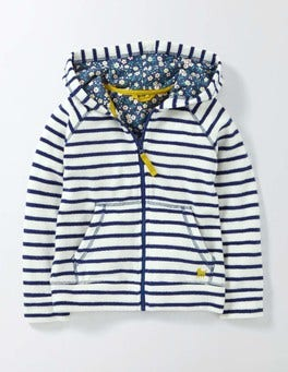 Ivory/Starboard Stripe Towelling Zip-Through