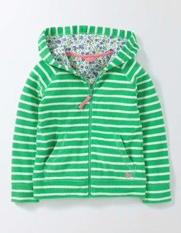 Summer Green/Ivory Stripe Towelling Zip-Through